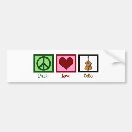 Peace Love Cello Bumper Stickers