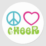 Peace Love Cheer Classic Round Sticker
