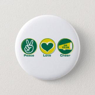 Peace Love Cheer Green/Yellow 6 Cm Round Badge