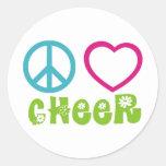 Peace Love Cheer Round Sticker