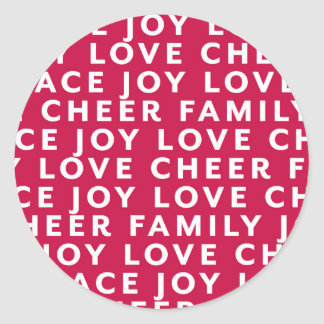 Peace Love Cheer Typography Sticker Tag