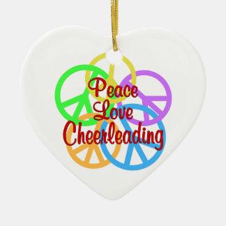 Peace Love Cheerleading Ceramic Ornament