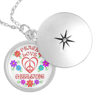 Peace Love Cheerleading Locket Necklace