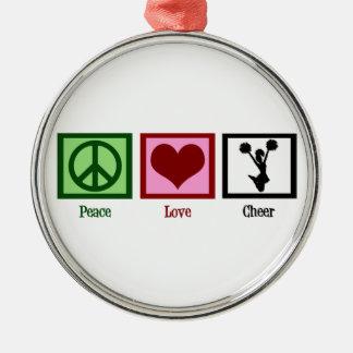 Peace Love Cheerleading Metal Ornament