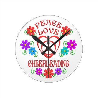 Peace Love Cheerleading Round Clock