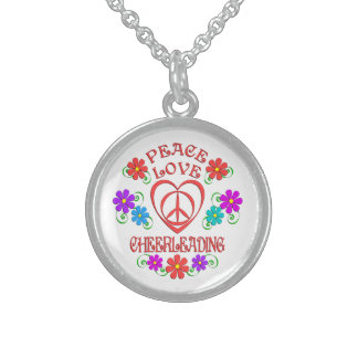 Peace Love Cheerleading Sterling Silver Necklace