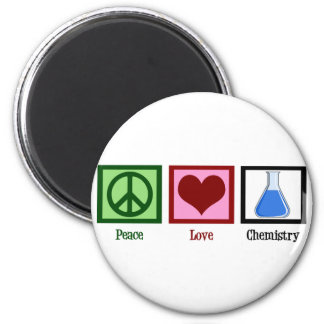 Peace Love Chemistry 6 Cm Round Magnet