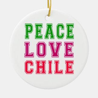 Peace Love Chile. Round Ceramic Decoration