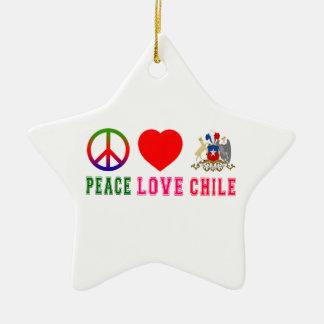 Peace Love Chile Ceramic Star Decoration