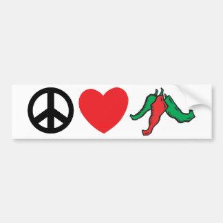Peace Love Chile Peppers Car Bumper Sticker