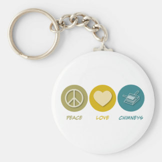 Peace Love Chimneys Basic Round Button Key Ring