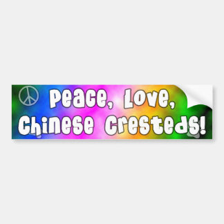 Peace Love Chinese Cresteds Bumper Sticker