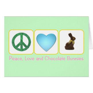 Peace Love Chocolate Bunnies Card