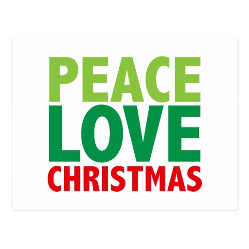 Peace Love Christmas Holiday Design Post Card