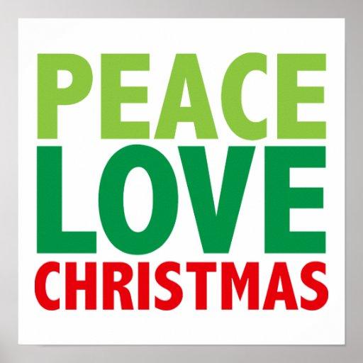 Peace Love Christmas Holiday Design Print