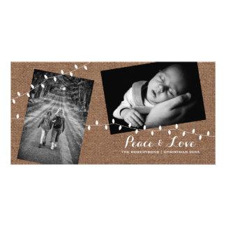 Peace - Love Christmas Strewn Photos Burlap Lights Card