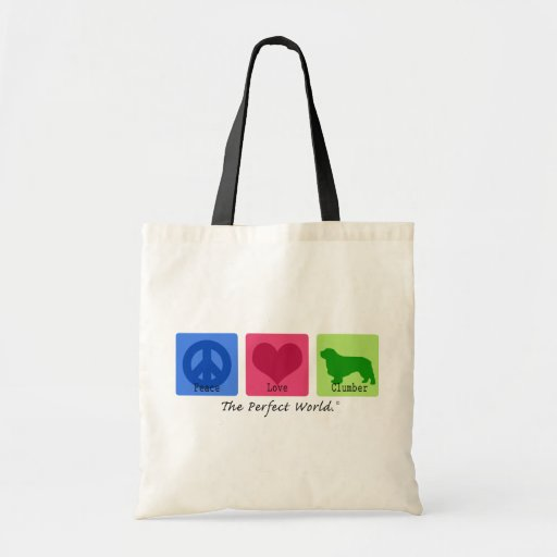 Peace Love Clumber Spaniel Tote Bag