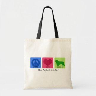 Peace Love Clumber Spaniel Budget Tote Bag
