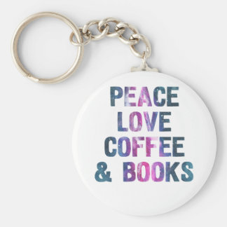 Peace love coffee and books key ring