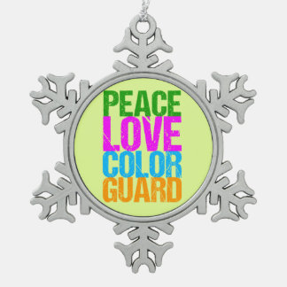 Peace Love Color Guard Snowflake Pewter Christmas Ornament