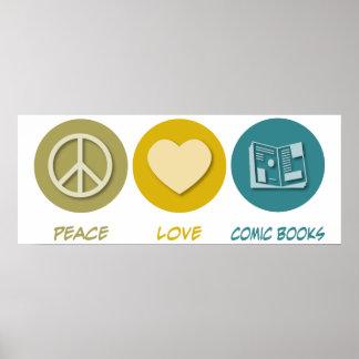 Peace Love Comic Books Posters