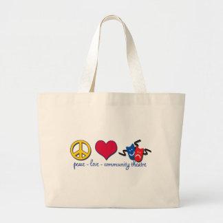 Peace Love Community Theatre Jumbo Tote Bag