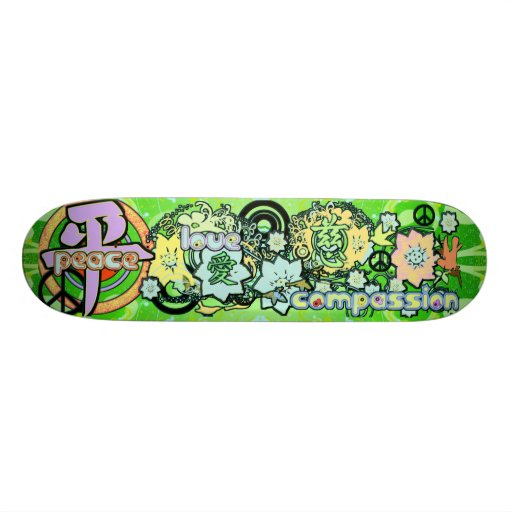 Peace-Love-Compassion-Kanji - Skateboard Decks