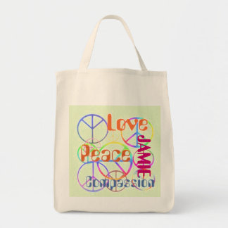 Peace Love Compassion Tote Grocery Tote Bag