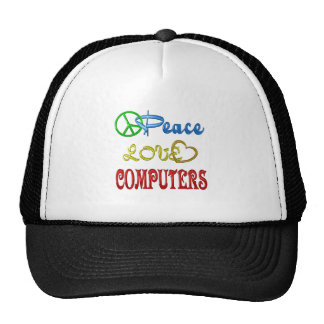 PEACE LOVE COMPUTERS MESH HAT