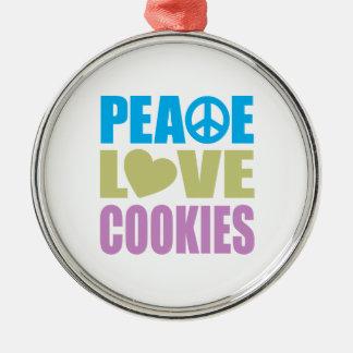 Peace Love Cookies Metal Ornament
