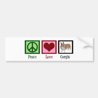 Peace Love Corgi Photograph Bumper Sticker