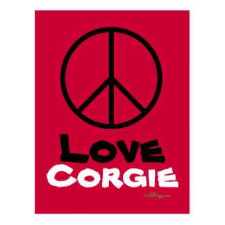 Peace Love Corgie Postcard