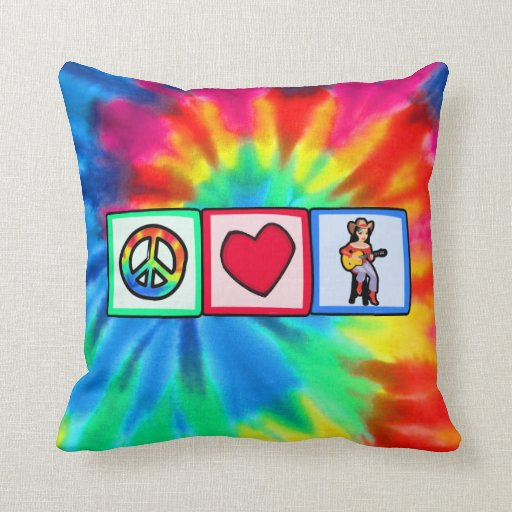 Peace, Love, Country Music Throw Pillow