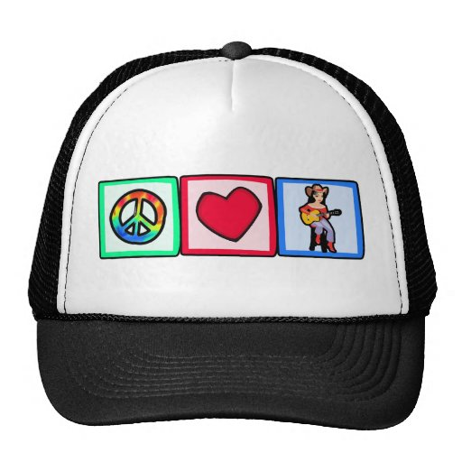 Peace, Love, Country Music Mesh Hat