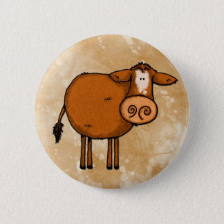 peace love cow 6 cm round badge