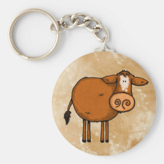 peace love cow basic round button key ring