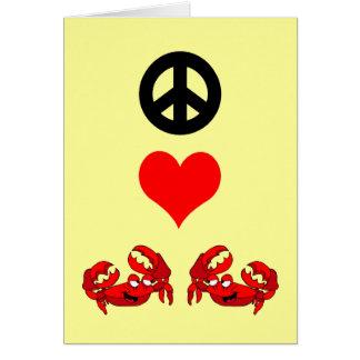 Peace love crabs card