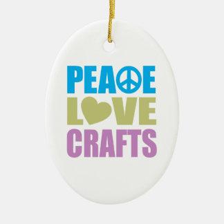 Peace Love Crafts Ceramic Ornament