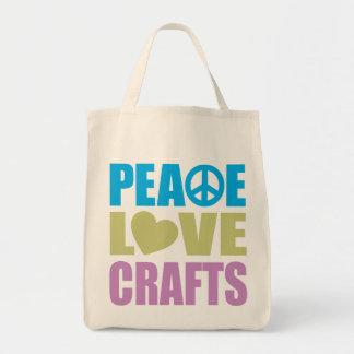 Peace Love Crafts Tote Bag