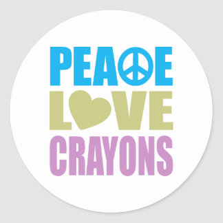 Peace Love Crayons Classic Round Sticker
