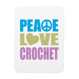 Peace Love Crochet Rectangular Photo Magnet