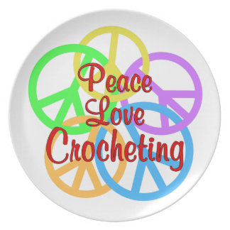 Peace Love Crocheting Plate