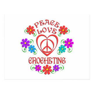 Peace Love Crocheting Postcard