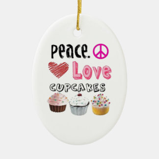Peace Love Cupcakes Christmas Tree Ornament