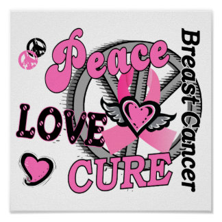 Peace Love Cure 2 Breast Cancer Poster