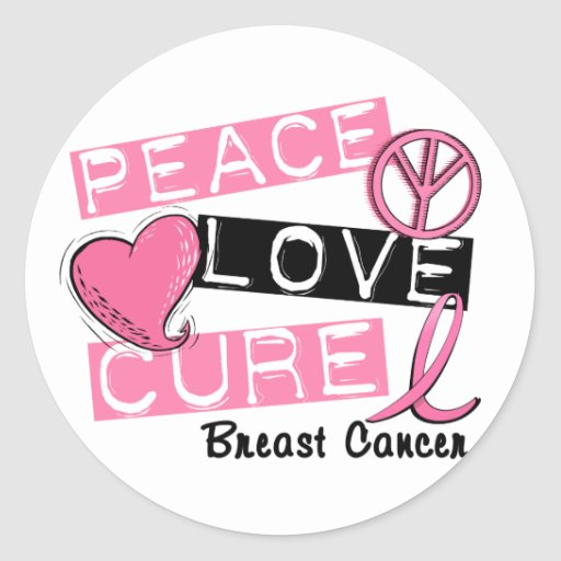 PEACE LOVE CURE BREAST CANCER STICKERS