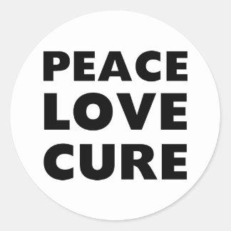 Peace Love Cure Classic Round Sticker