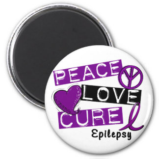 PEACE LOVE CURE EPILEPSY 6 CM ROUND MAGNET
