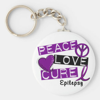 PEACE LOVE CURE EPILEPSY KEY RING