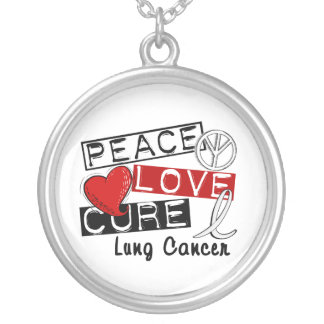 Peace Love Cure Lung Cancer Silver Plated Necklace